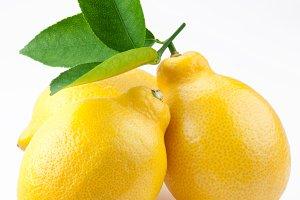 High-quality photo ripe lemons on a white background