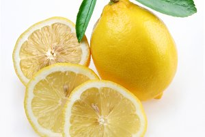 Lemon with section on a white background