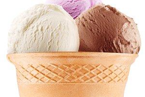 Colorful ice-creams in waffle cones