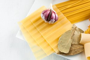 Italian pasta withgarlics and onion