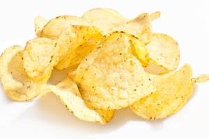 Potato chips on a white