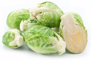 Brussels sprouts on a white background