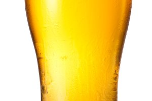 Glass of light beer isolated on a white background. File contains path to cut.