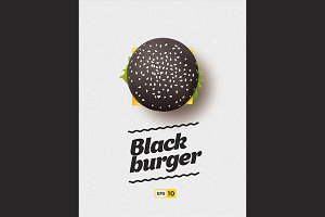 Black cheesburger top view.
