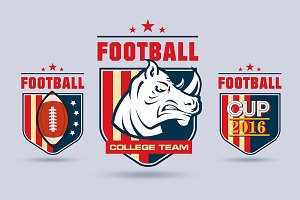 Football or rugby logos set.