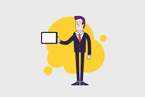 Businessman character holding tablet