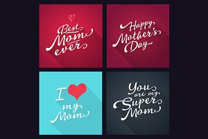 Happy mothers day typography set.