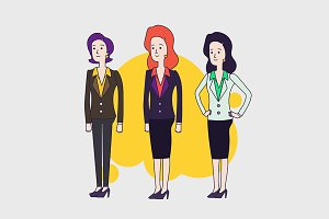Businesswomen characters set.