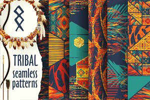Set of tribal seamless patterns.