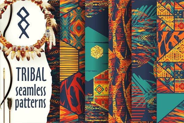 Set of tribal seamless patterns.