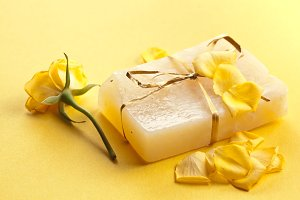 Piece of handmade flower soap.