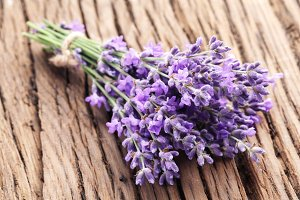 Bunch of lavender on a wooden background.