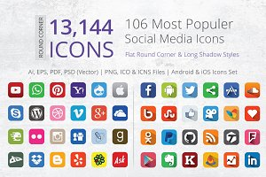 212 Round Corner Social Media Icons