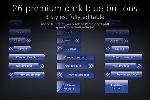 26 glossy dark blue buttons