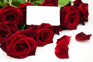 Roses and greeting card