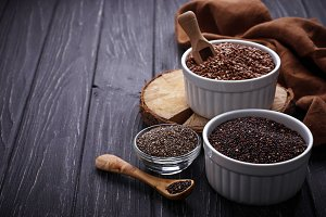 Superfoods: chia, quinoa, flax seed