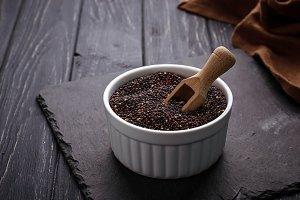 Uncooked black quinoa