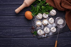 Raw homemade dumplings