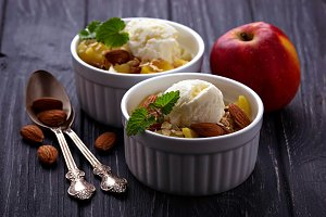 Dessert with apple and ice cream