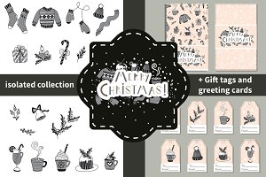 Hand drawn Christmas vector set