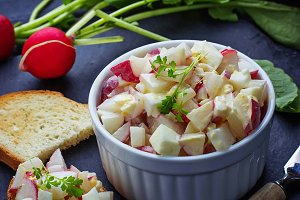 Fresh salad with radish and eggs