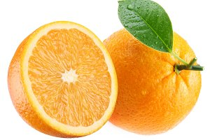 Ripe orange and its half with leaf. Isolated on a white.