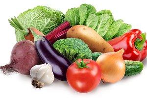 Image of fresh vegetables on white background