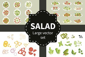 Salad set. Various salads in plates