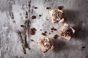 Cupcakes on concrete background
