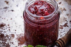 Raspberry jam in a jar