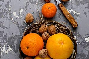 Orange, grapefruit and lemon