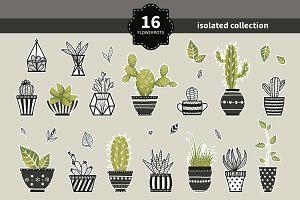Cute cacti, flowerpots. Vector set.