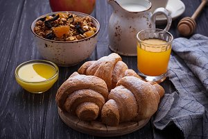Croissants, granola, juice