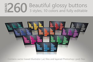 Mega Pack: 260 glossy buttons