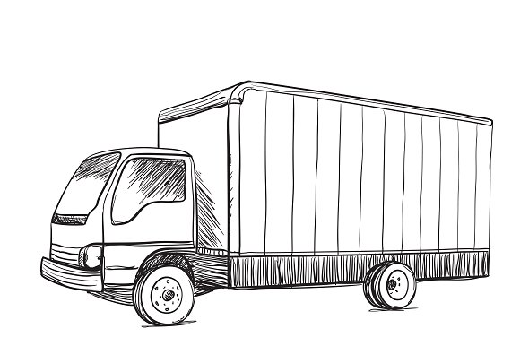 Truck sketch. Delivery poster. ~ Illustrations ~ Creative
