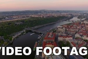 Prague and Vltava river, aerial view