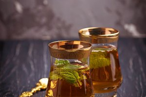 Traditional arabic tea with mint