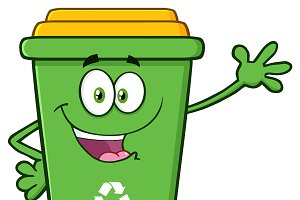 Happy Green Recycle Bin