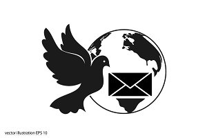 Bird and mail envelope