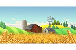 Farm landscape. Vector background
