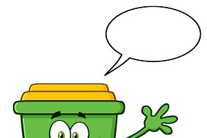 Green Recycle Bin With Speech Bubble