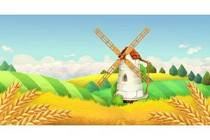 Windmill landscape.Vector background