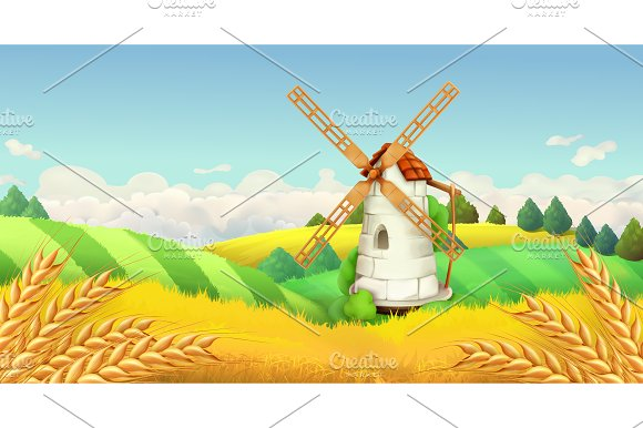 Windmill landscape.Vector background - Illustrations