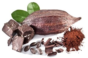 Chocolate blocks isolated