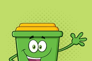 Happy Green Recycle Bin Character