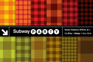 Fall Gingham Vector Patterns