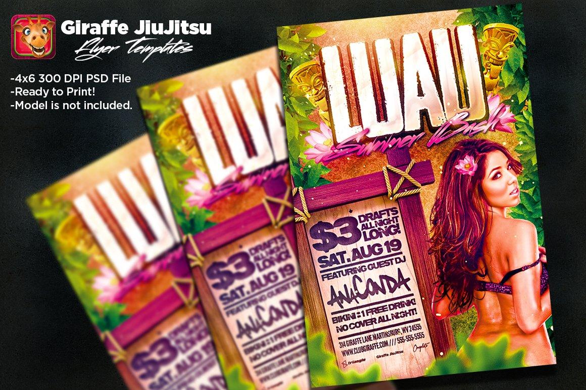 luau summer bash flyer template flyer templates creative market