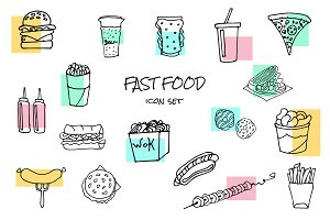 fast food handdrawn icons