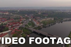 Prague aerial view with Manes Bridge