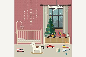 Christmas baby room interior